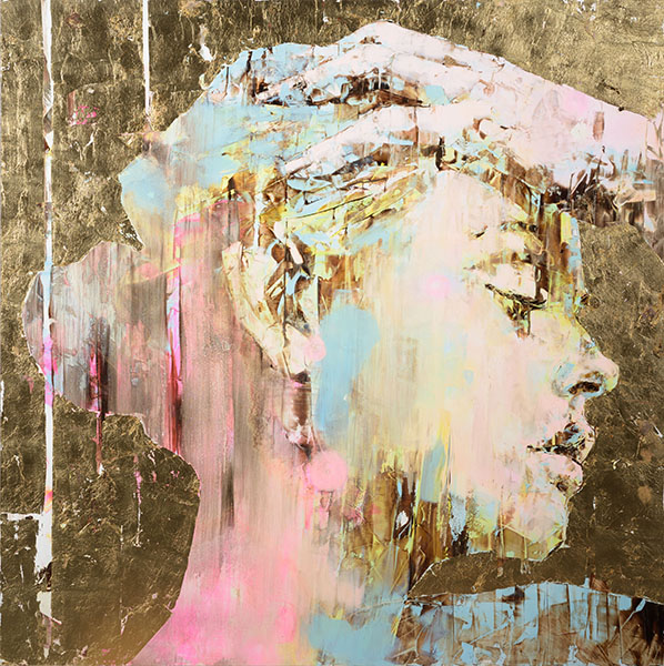 The DI-Gold Experience n. 177 oil on aluminum dibond plus gold leaf and resin mixed media artwork by Marco Grassi