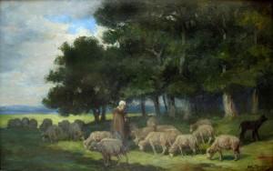 JACQUE-berger et ses moutons a l'oree de la foret300