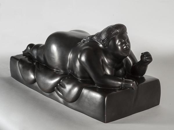 Donna Sdriata su Pancia patinated bronze sculpture by Fernando Botero
