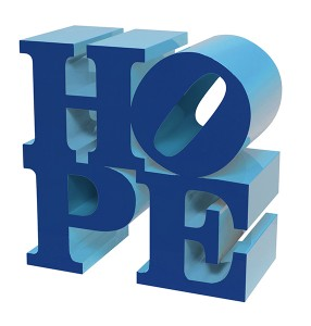 HOPE (Dark Blue/Light Blue) painted aluminum sculpture by artist Robert Indiana