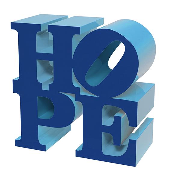 HOPE (Dark Blue/Light Blue) painted aluminum sculpture by artist Robert Indiana