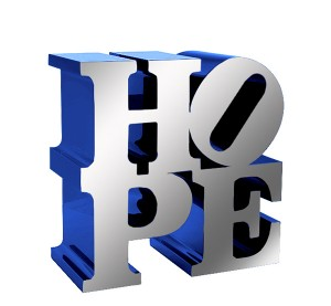 HOPE (Polished Stainless/Dark Blue) polished stainless and painted aluminum sculpture by artist Robert Indiana