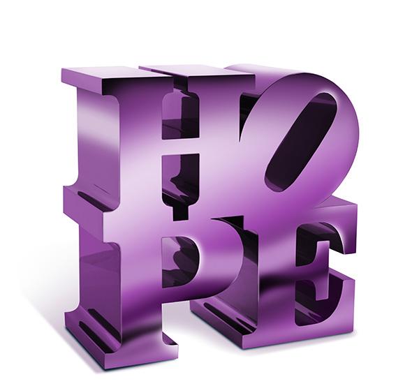 HOPE (Purple - Metallic) aluminum sculpture with chrome paint finish by artist Robert Indiana