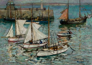 Lever-The Quay and Fishing Boats, Sunday Morning, St Ives