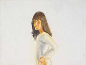 "Image of Alex Katz's ""Kym in White"" oil on board painting"