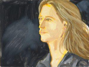 "Image of Alex Katz's ""Stephanie"" oil on board painting"
