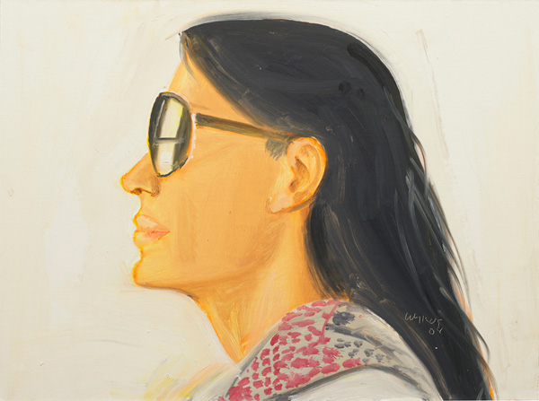 Carmen oil on board painting by artist Alex Katz