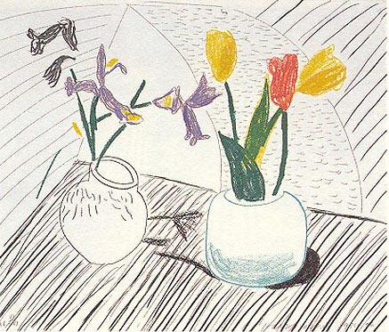 White Porcelain etching, aquatint and offset lithograph in color on handmade paper by artist David Hockney