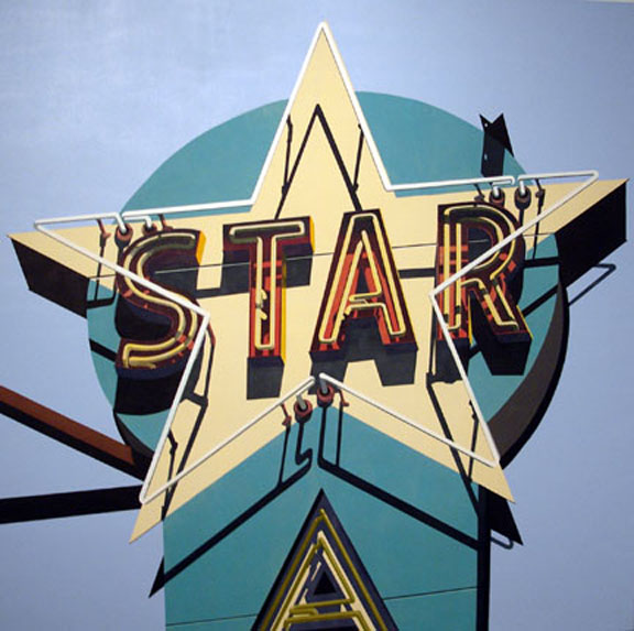 Aqua Star oil silkscreen on canvas by artist Robert Cottingham