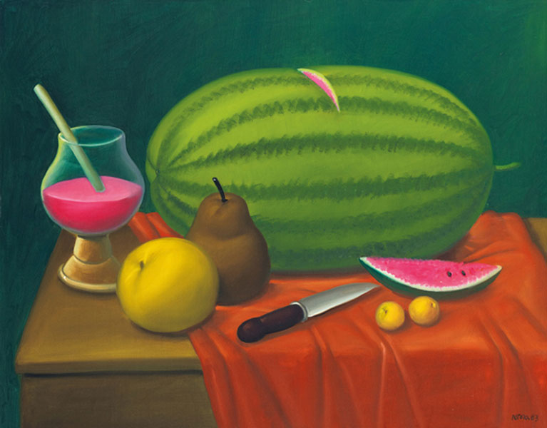 Still Life with Fruits oil on canvas painting by artist Fernando Botero