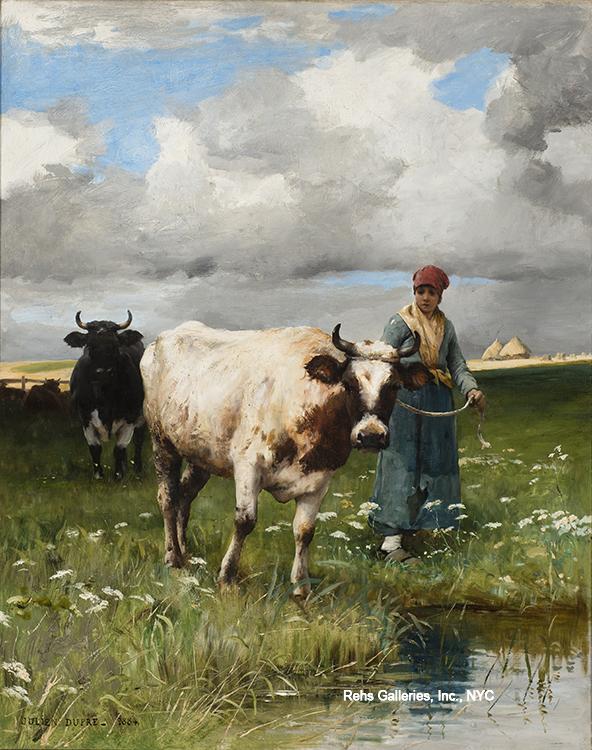alt Femme et la vache de l'eau