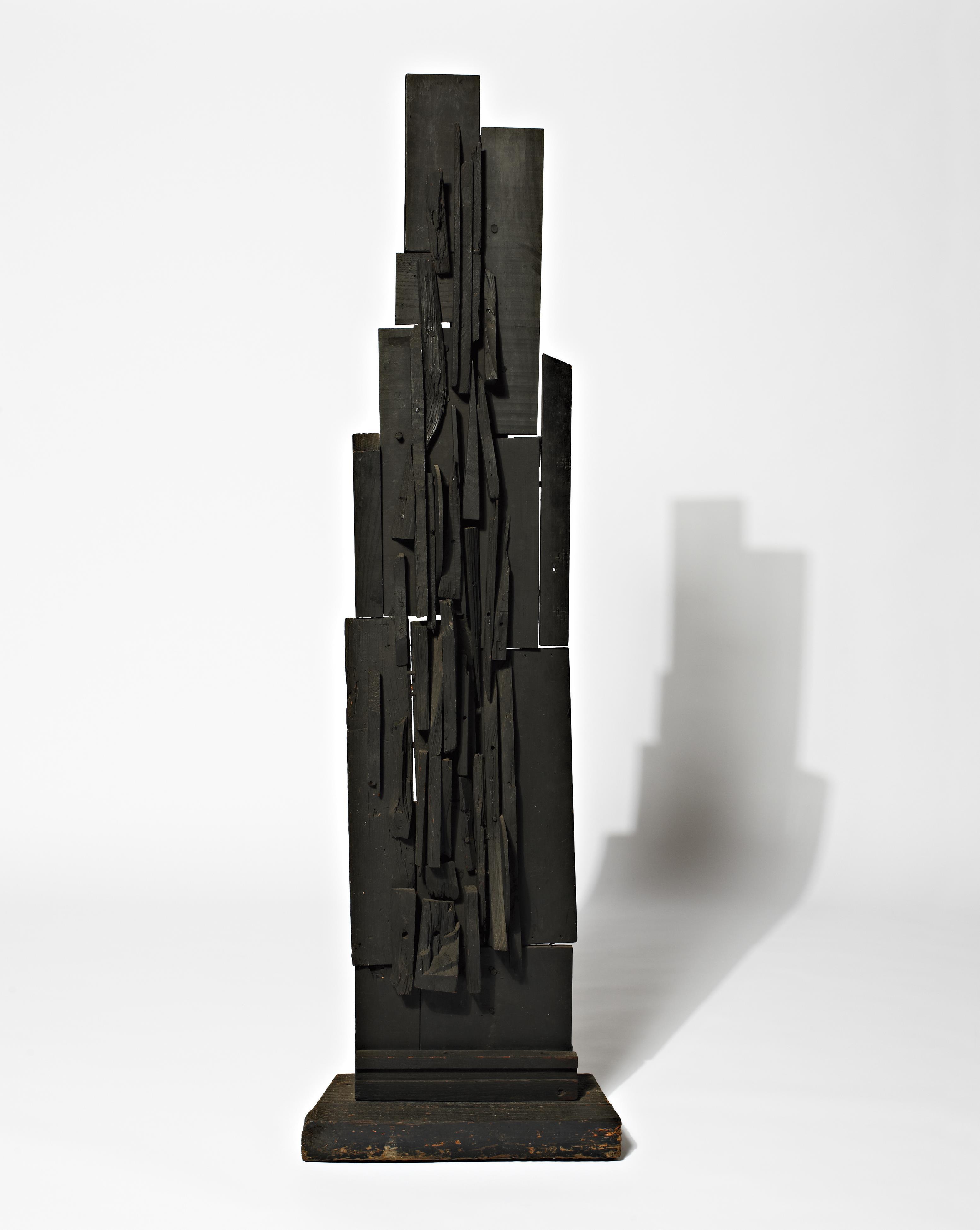 louisenevelson_spire_64x18375x9.5_woodpaintedblack_circa1950-1959