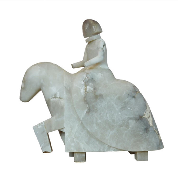 Dama a Caballo alabaster sculpture by artist Manolo Valdés