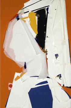 Perfil con Fondo Naranjo gouache and collage mixed media artwork by Manolo Valdés