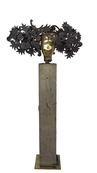 Fiori gold brass and bronze sculpture by artist Manolo Valdés