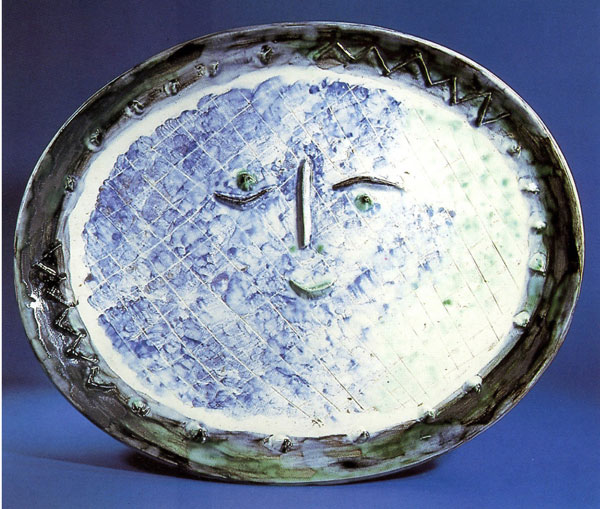 Face in Oval O.P. white earthenware clay, decoration in engobes under brushed glaze ceramic platter by artist Pablo Picasso