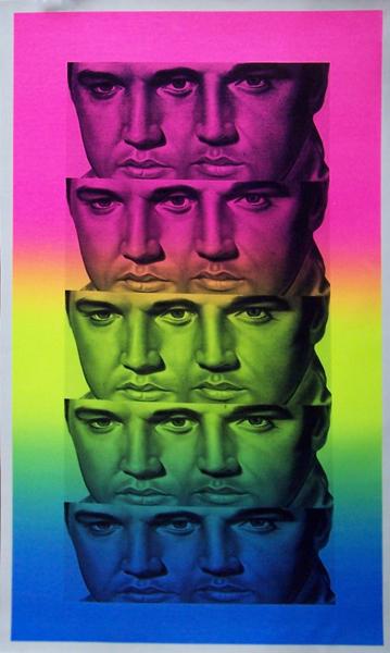 Rainbow Elvis silkscreen on canvas with hand embellishment by artist Ron English