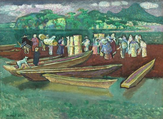 sheetsboatlandingmarketdayinpatzcuaro