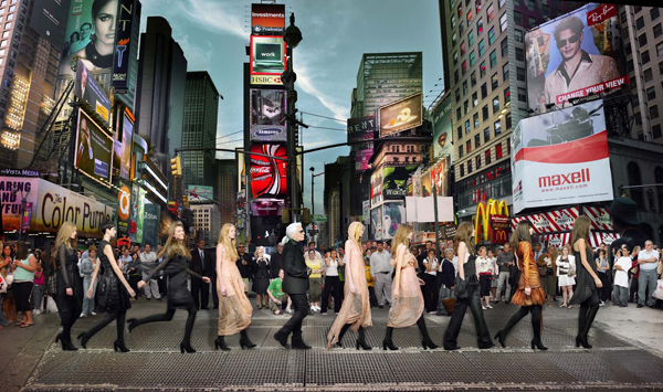 Karl Lagerfeld in Times Square, Editorial for Harper's Bazaar 2006, NYC C-print by fine art photographer Simon Procter