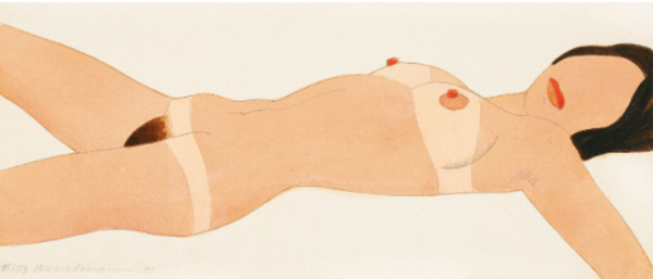 Open Ended Nude #103 pencil and thinned Liquitex on Bristol board by artist Tom Wesselmann