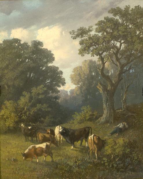 Vaches paissant dans la clairière