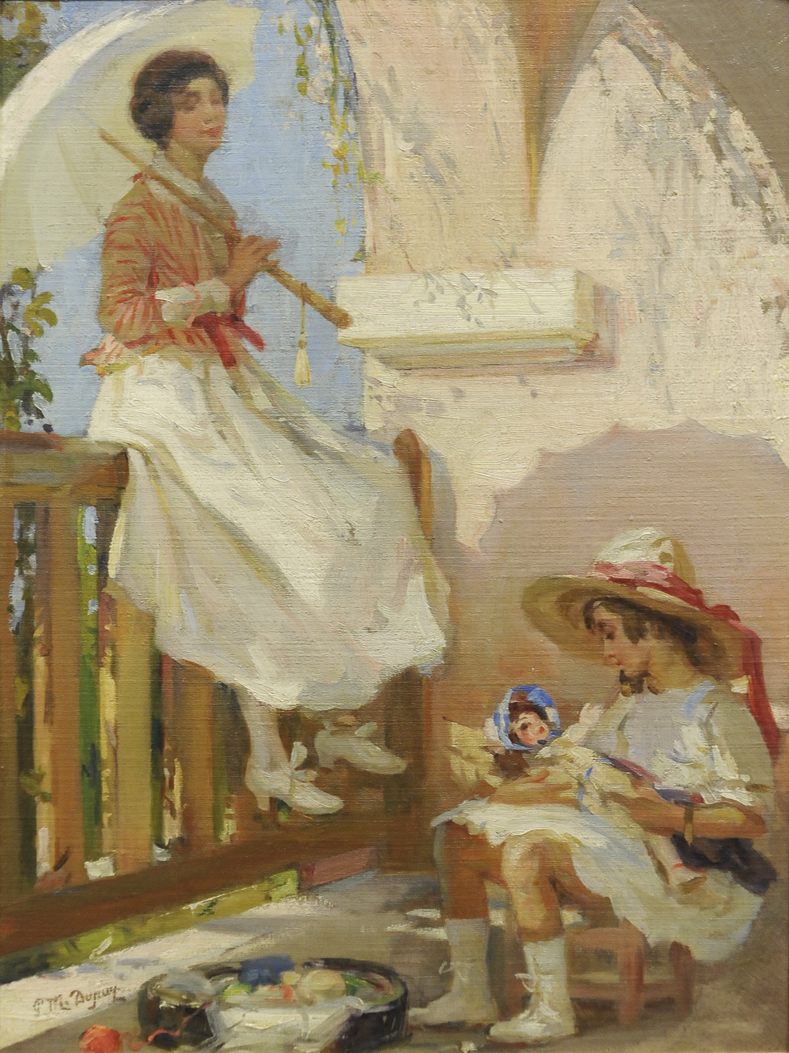 Jeune femme à l'ombrelle et son enfant (Young Woman with Umbrella and her Child)