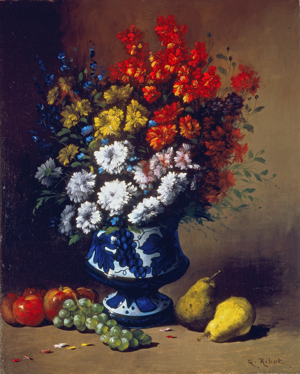Floral Still Life with Fruit on a Ledge