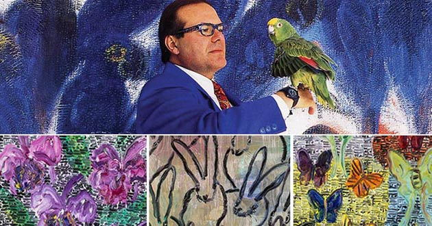 Portrait of artist and details of paintings from Rosenbaum Contemporary's Hunt Slonem The Birds and the B's exhibition