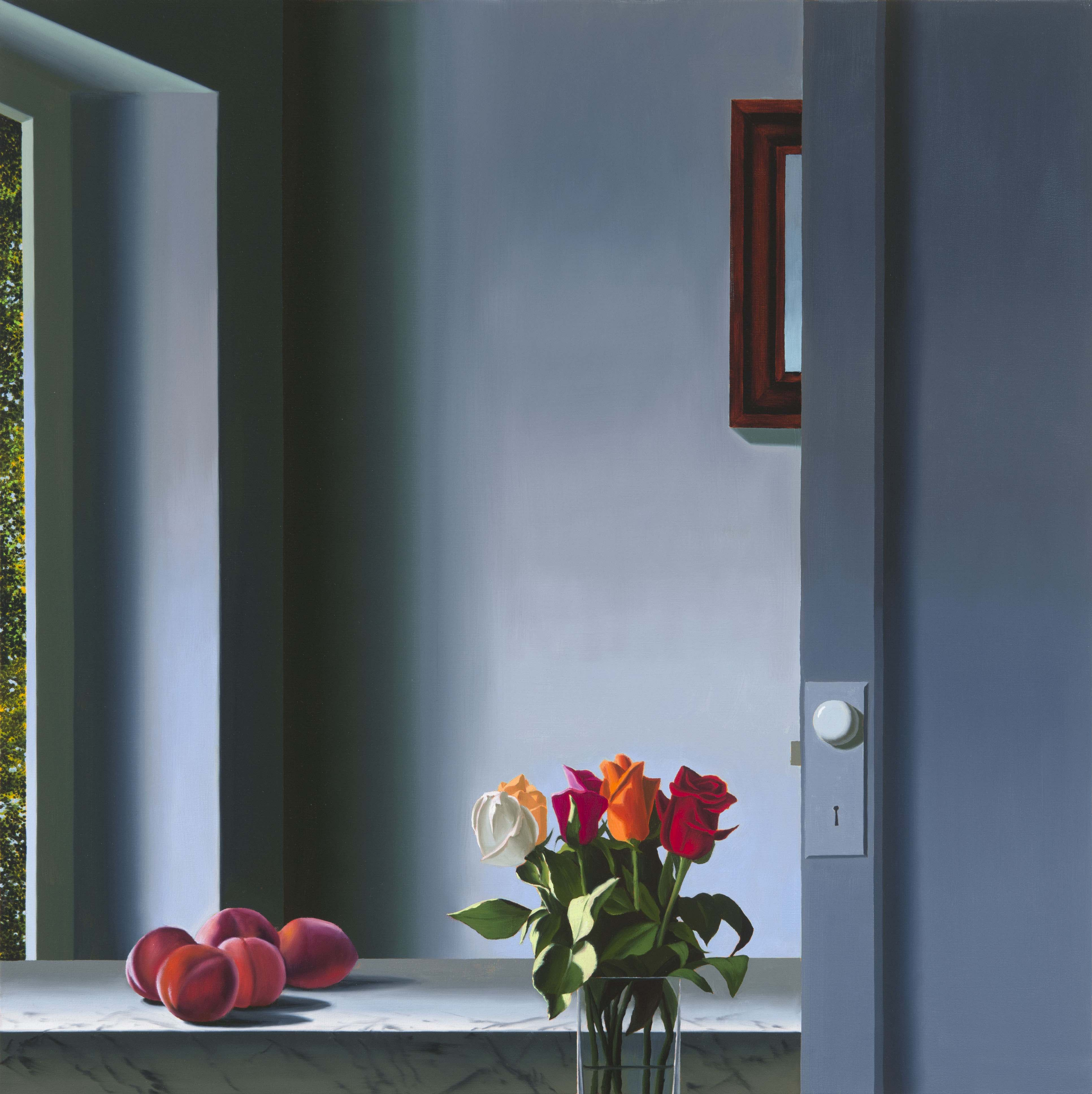 Interior with Peaches and Roses