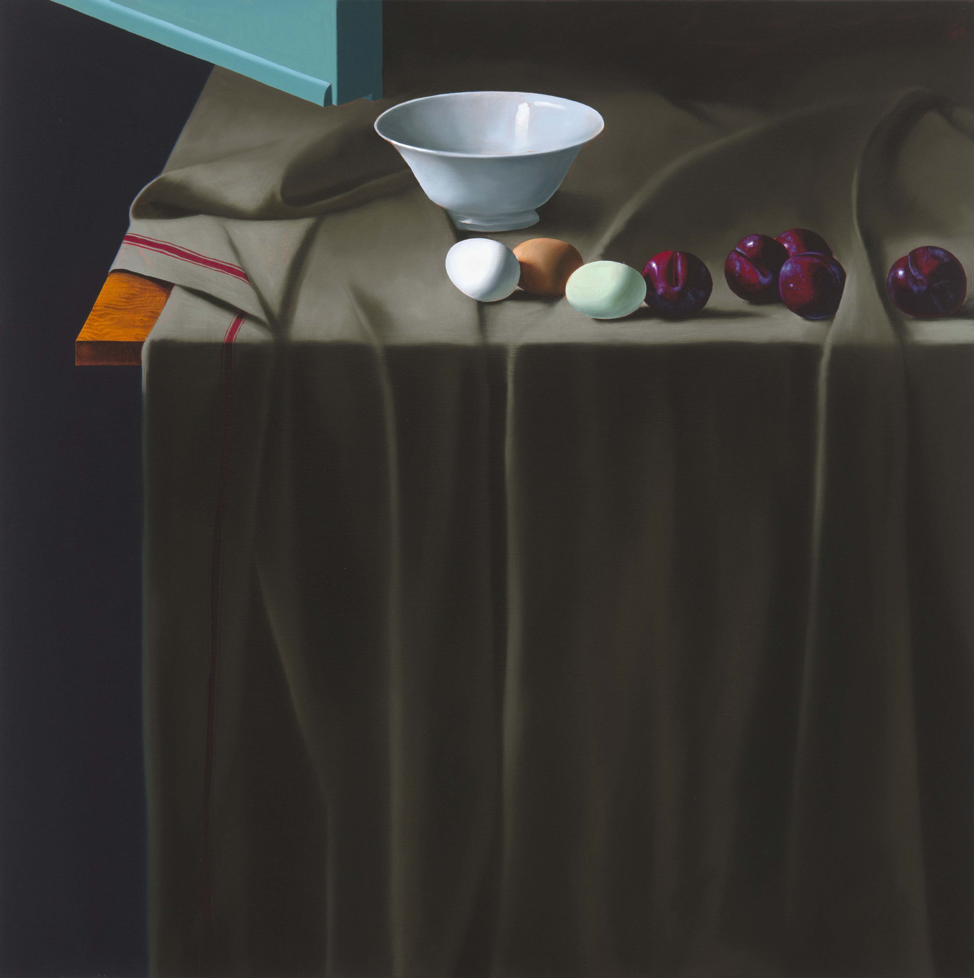 Still Life with Eggs, Plums, and Bowl
