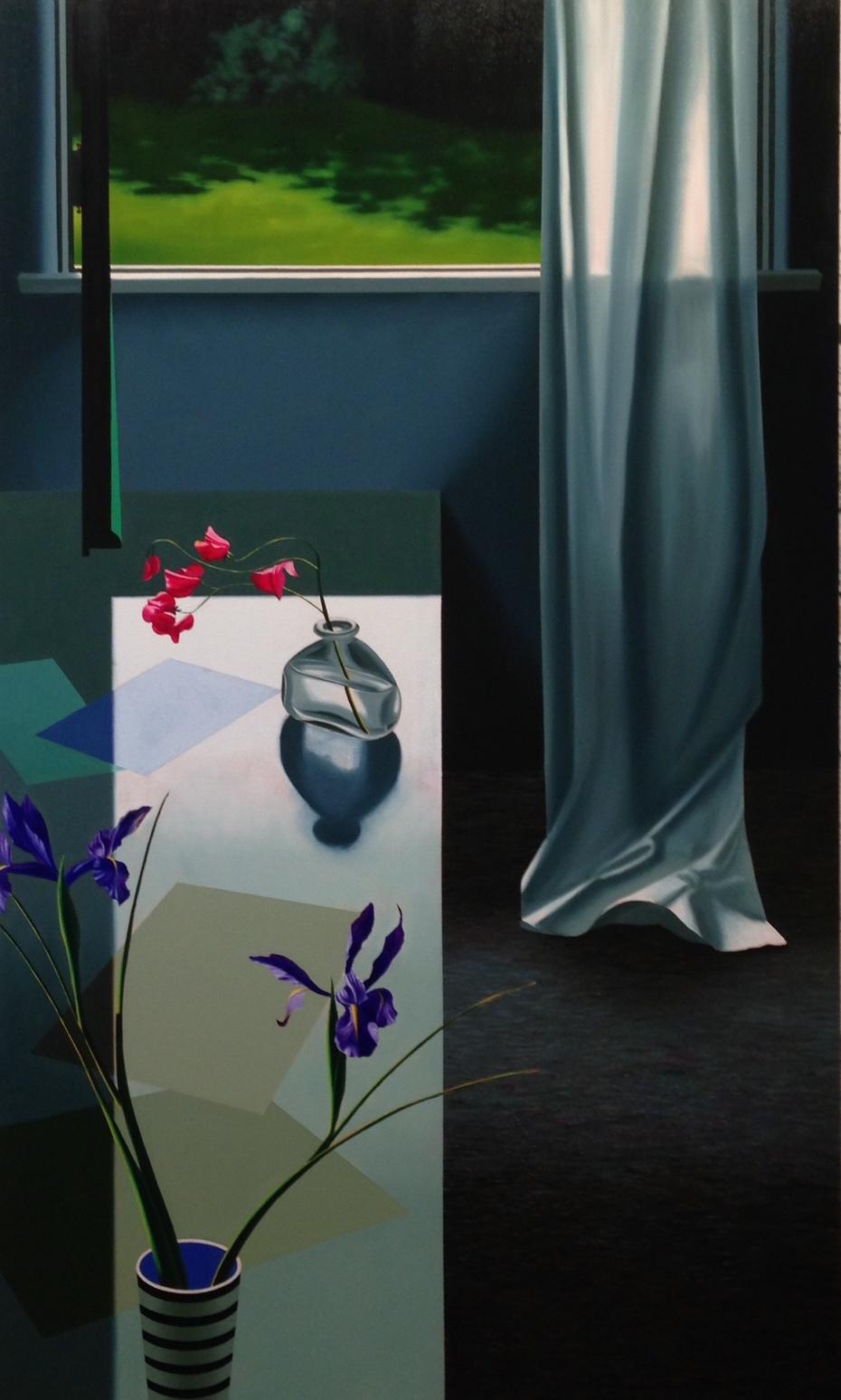 Interior with Iris and Sweet Peas