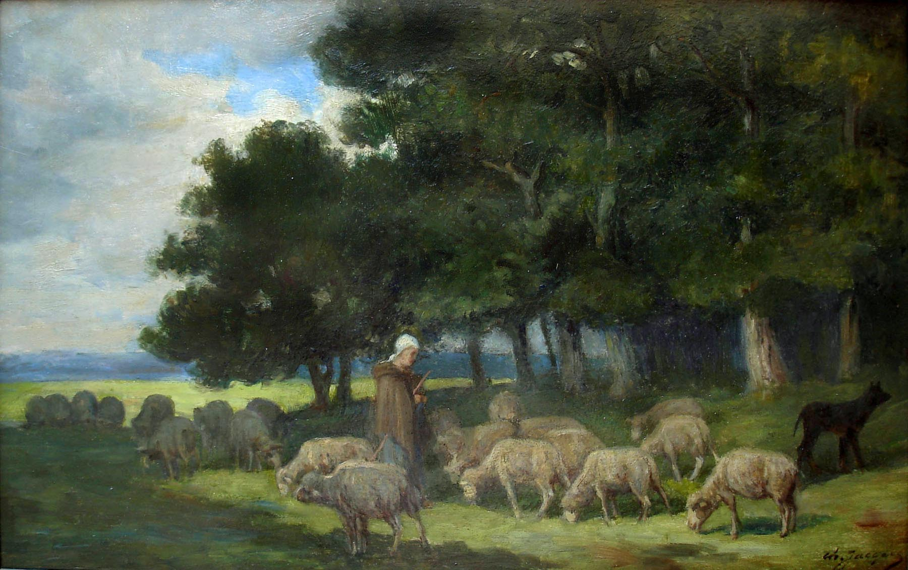 Shepherdess and sheep at the edge of the Forest