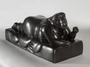 Donna Sdriata su Pancia patinated bronze sculpture by Fernando Botero