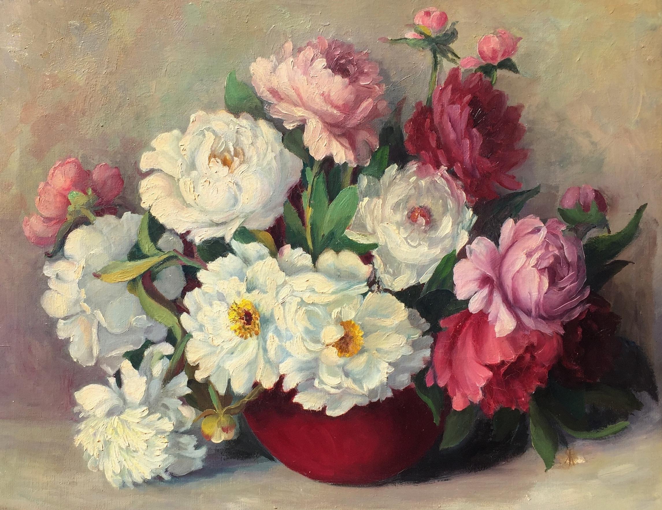 Peonies in a Red Vase