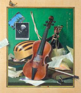 Albo-Trope L'oeil Still Life with Violin