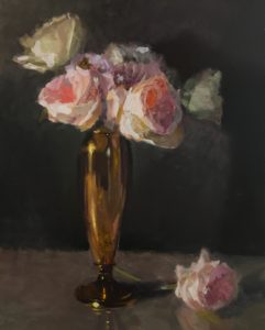 17-0304 3-18-17 Roses In Brass Vase 20x16 by CW Mundy