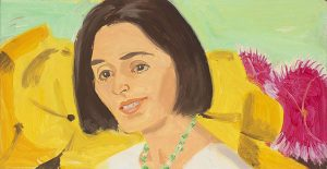 "Image of Alex Katz's ""Vivien with Flowers"" oil on board painting"