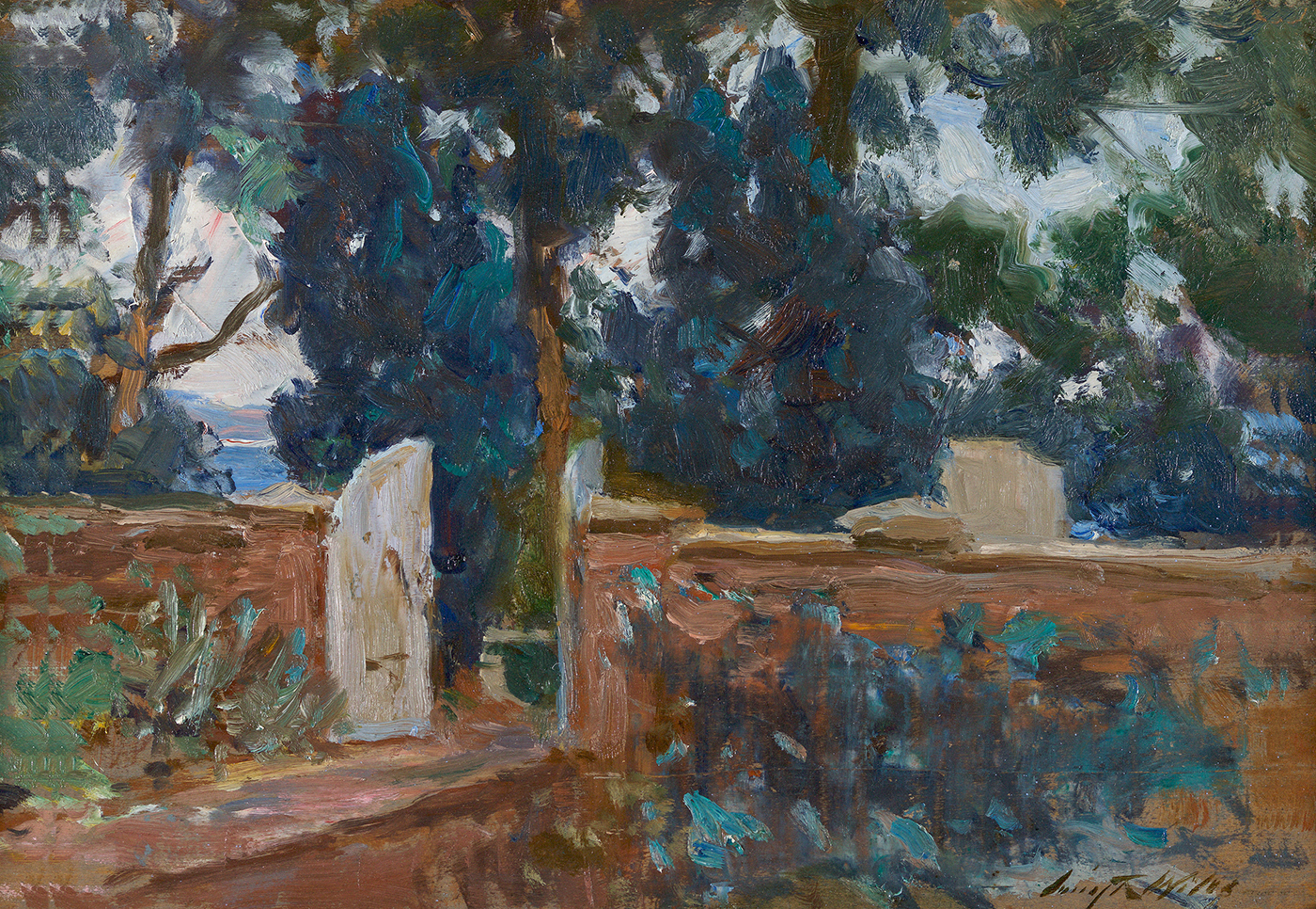 Garden Gate (on verso: Harbor Scene)