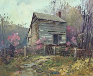 Brown, Francis Clark-Log Cabin in Spring-cropped