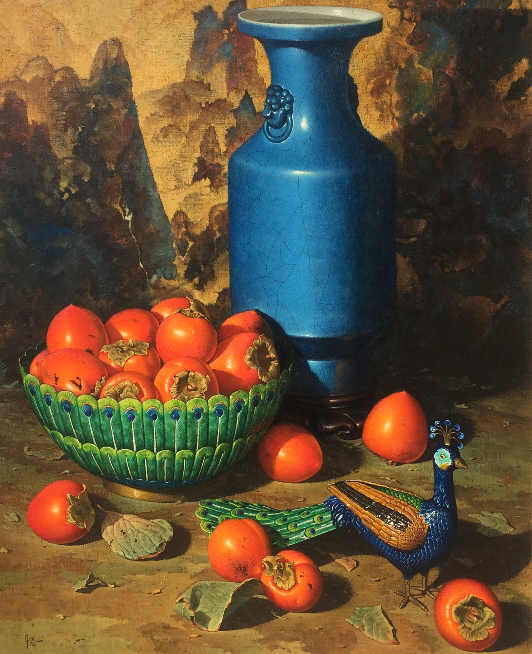 Persimmons and Cloisonné Peacock
