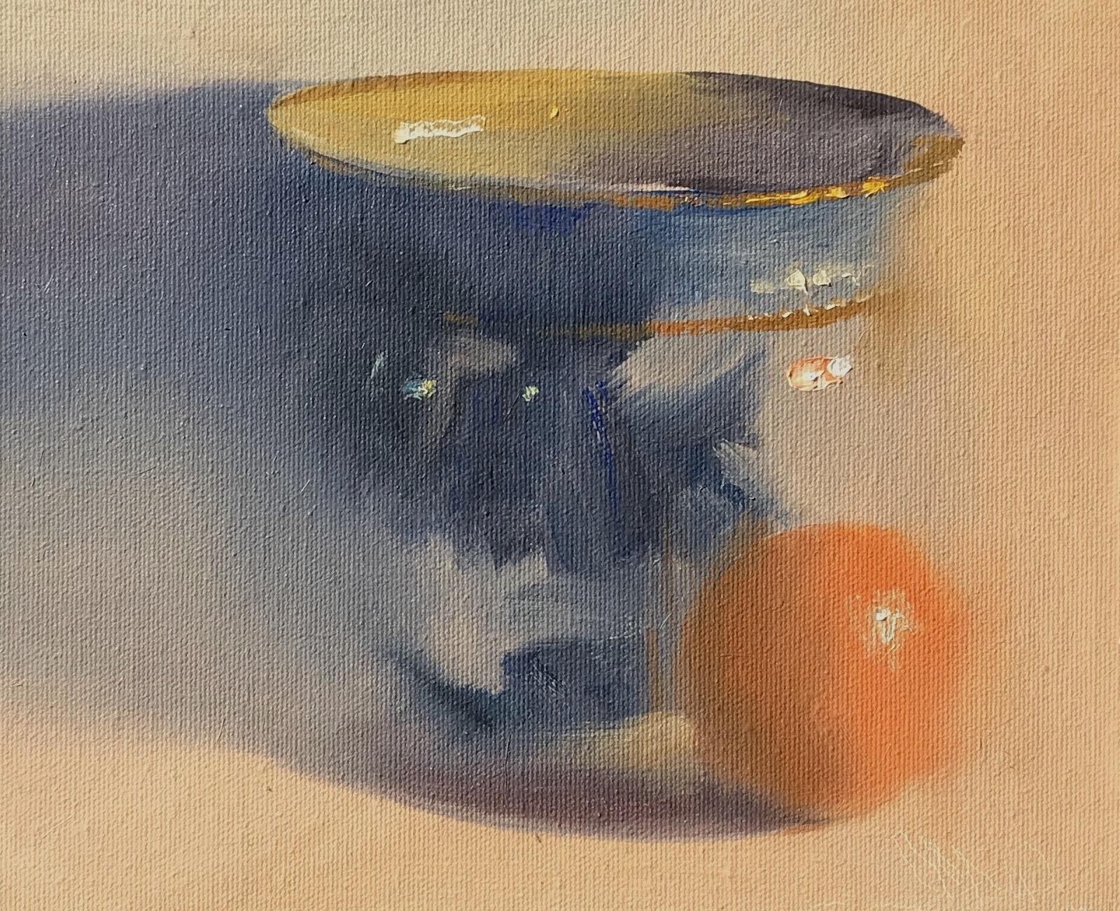 Flow Blue Jardiniere with Orange