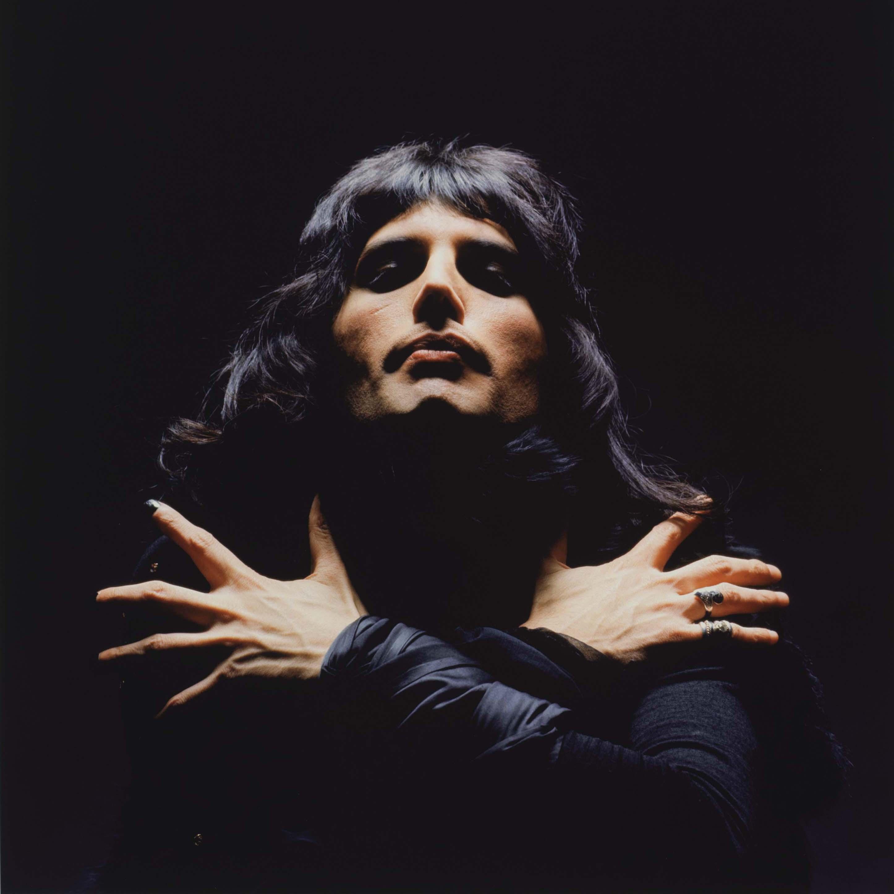"Detail from Mick Rock's ""Freddie Mercury (Queen II Album Session), London"" 1974 Epson Premium Lustre archival quality fine art print."