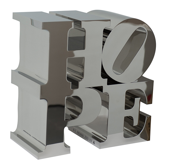 HOPE fully polished stainless steel sculpture