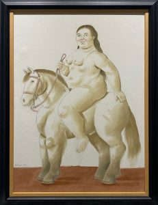 """Woman on a horse"" painting by Fernando Botero"