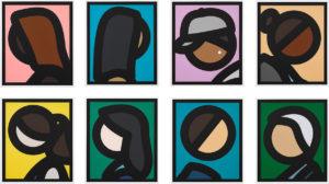 Six colorful pop art heads on paper by Julian Opie