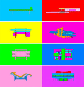 Colorful prints with architecture and furniture design