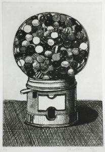 Black and white etching of a gumball machine by Wayne Thiebaud