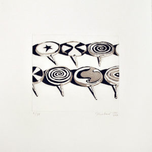 Black and white aquatint of candy by Wayne Thiebaud