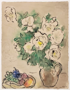chagall painting of roses on beige background