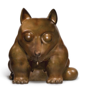 Fernando Botero Dog Sculpture in Bronze